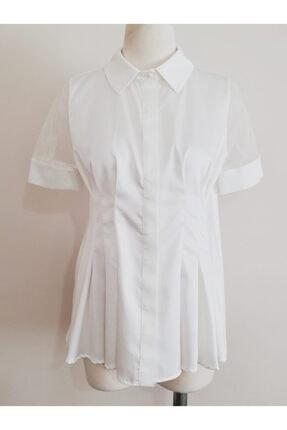 Vekem Kadın Beyaz Belden Büzgülü Gömlek
