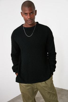 TRENDYOL MAN Siyah Erkek Yanı Yırtmaçlı Oversize Kazak TMNAW21KZ0552