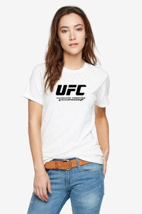 QIVI Ultimate Fighting Championship Baskılı Beyaz Kadın Örme Tshirt