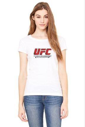 QIVI Ufc Ultimate Fighting Championship Logo Baskılı Beyaz Kadın Örme Tshirt