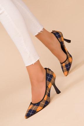 SOHO Lacivert Ekose Kadın Klasik Topuklu Ayakkabı 15326