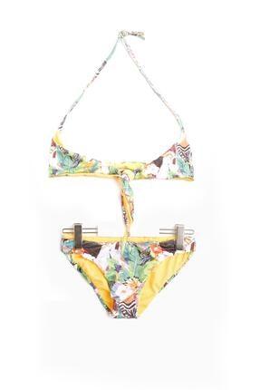 Tyess Kız Çocuk Beyaz Desenli Bikini
