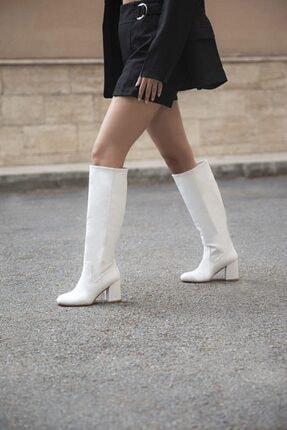 STRASWANS Tina Bayan Küt Burun Deri Çizme Beyaz