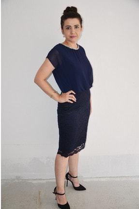 zeynep Kadın Lacivert Yaka Detaylı Büyük Beden Elbise