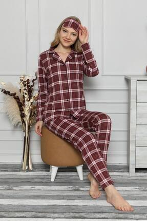 Pijamaevi Kırmızı Ekose Önden Düğmeli Uzun Kollu Pijama Takımı