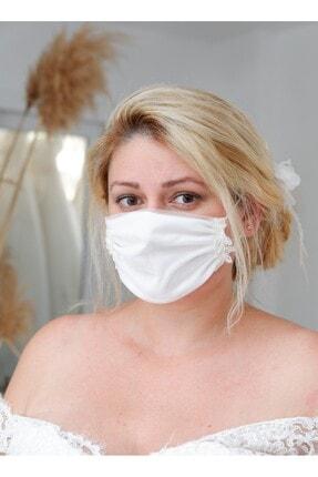 İlkay Bayhan Modaevi Kenarları Gelinlik Danteli Ile Süslenmiş Astarlı Büzgülü Gelin Maskesi