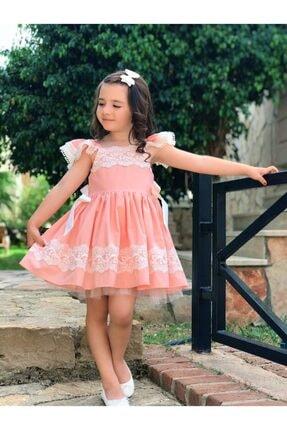 HC Kids Wear Kız Çocuk Somon U Yaka Dantel Detaylı Elbise