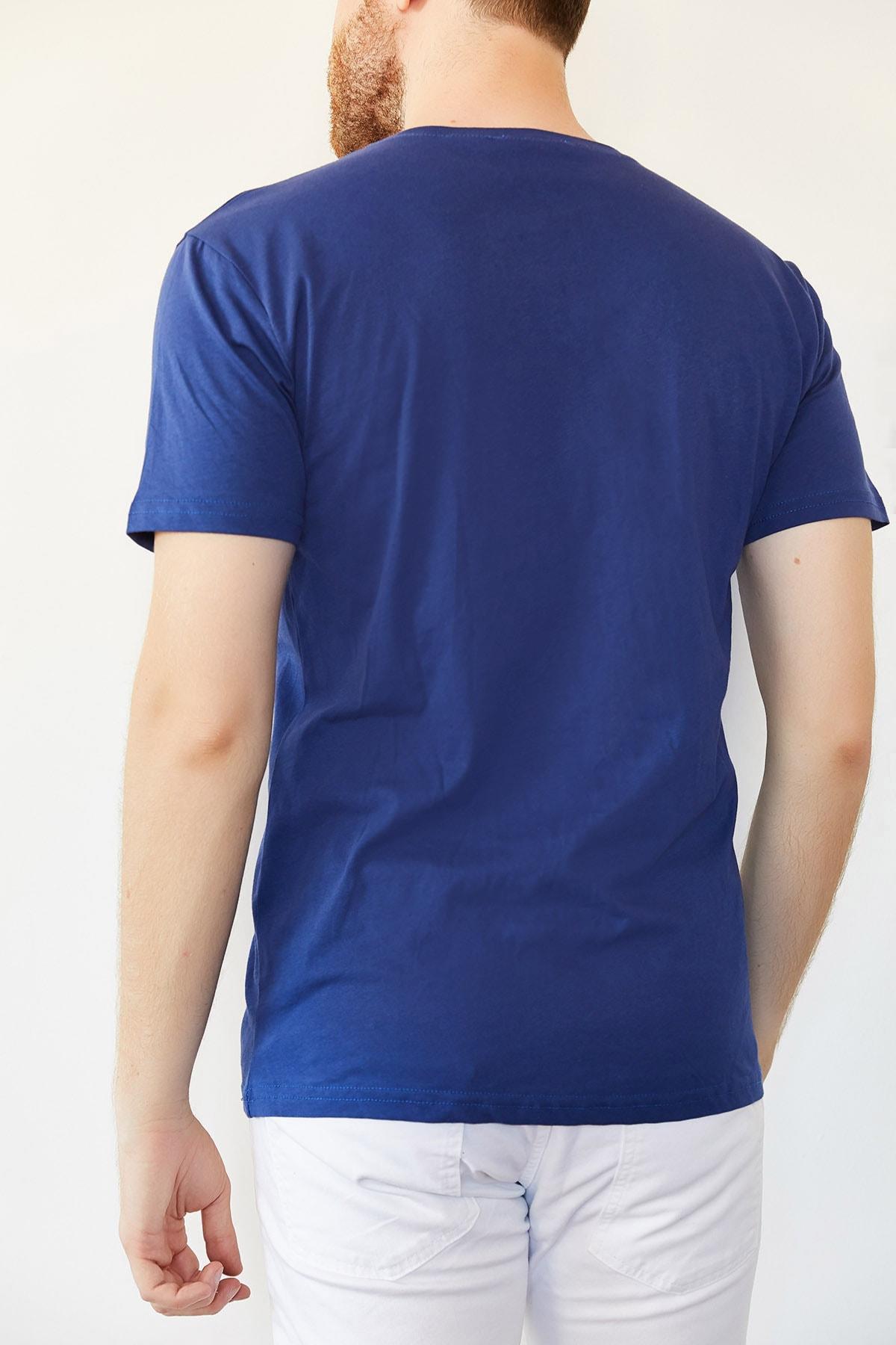 XHAN Erkek Lacivert Indigo V Yaka Basic T-shirt 0yxe1-44123-27 2
