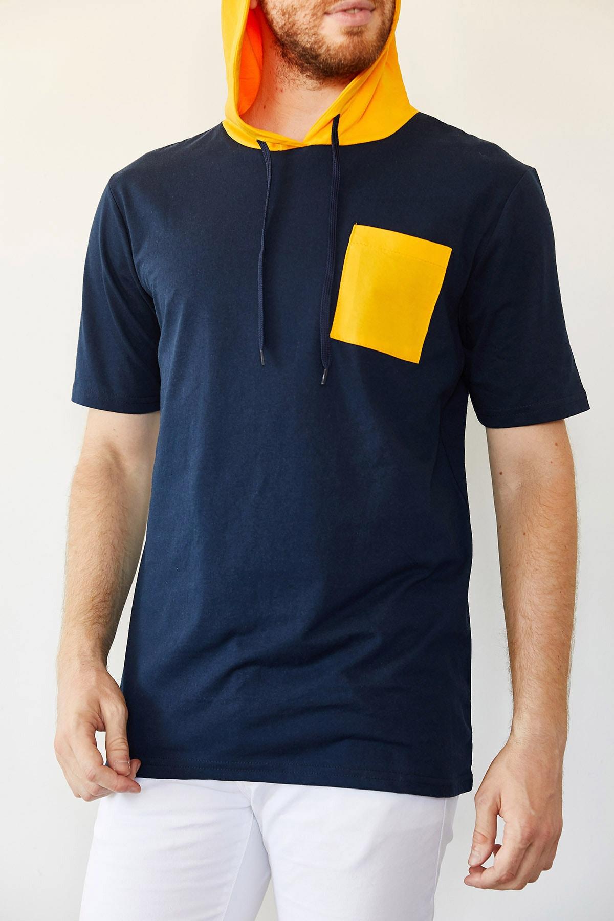 XHAN Lacivert Cep Detaylı Kapüşonlu T-shirt 0yxe8-44091-14 1