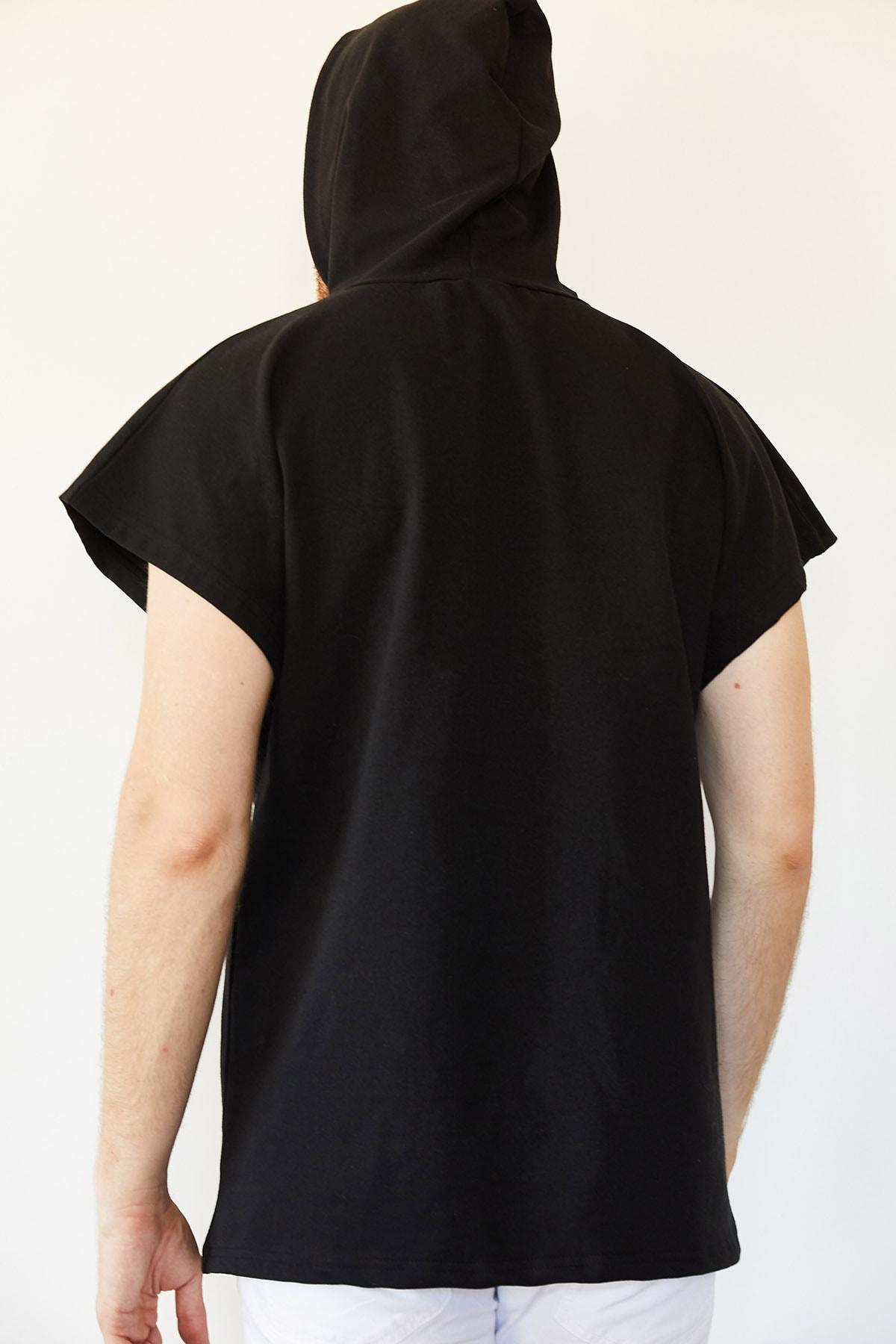 XHAN Erkek Siyah Kolsuz Sweatshirt 0yxe8-44068-02 2