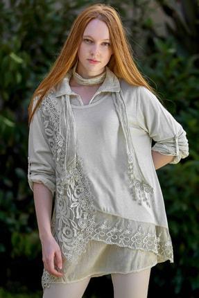 Chiccy Kadın Ekru Italyan Gül Desen Dantelli Triko Yıkamalı Bluz ve Fularlı Set