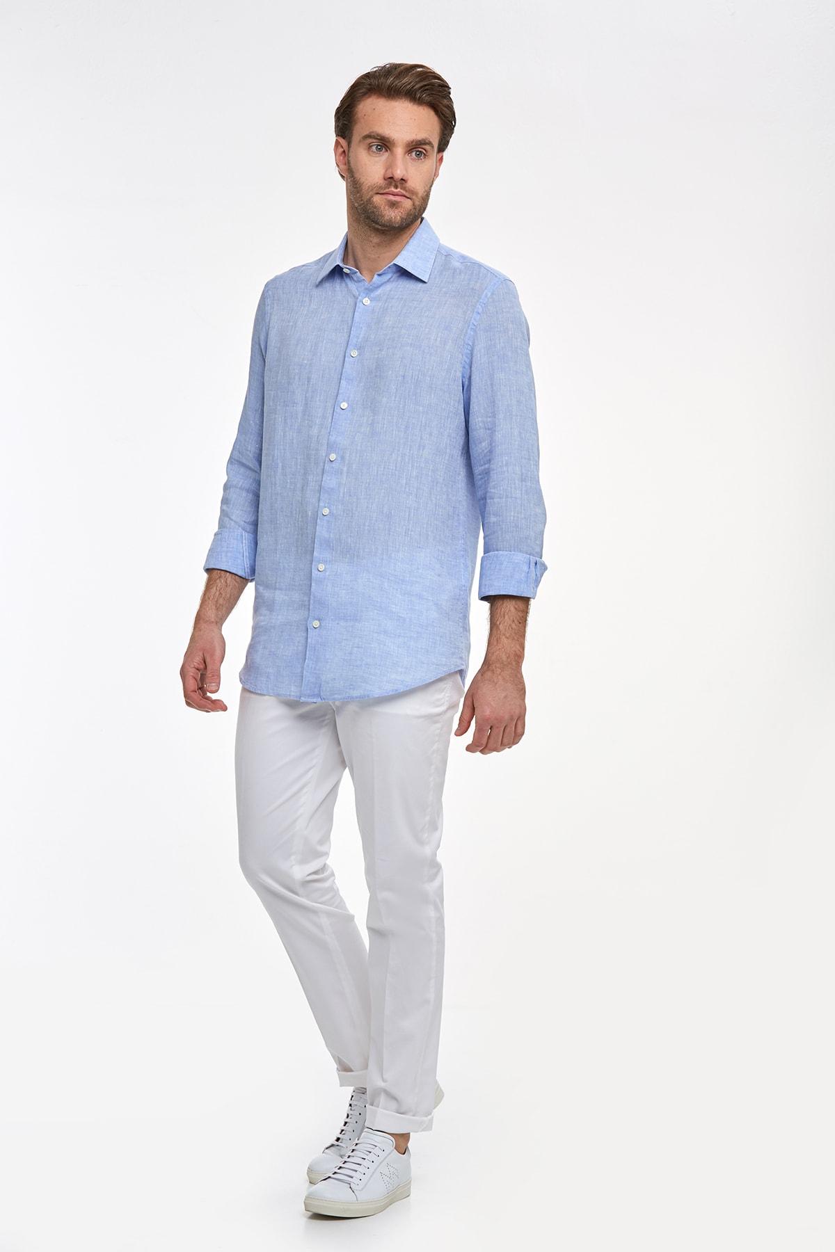 Hemington Erkek Açık Mavi Saf Keten Gömlek 2