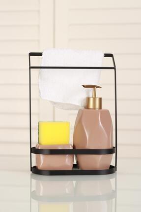ACAR Belly Seramik Metal Stand Süngerli Sıvı Sabunluk - Bej