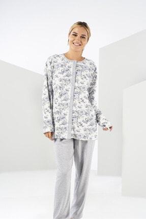 Estiva Kadın Gri Kışlık Penye Büyük Beden Önden Düğmeli Pijama Takımı