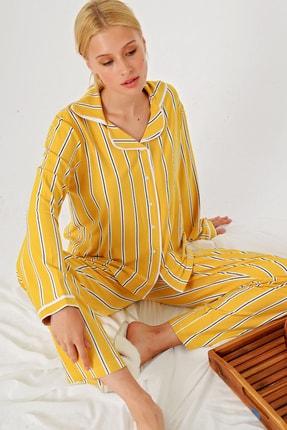 Trend Alaçatı Stili Kadın Hardal Çizgili Gömlek Yaka Pijama Takım ALC-X4801