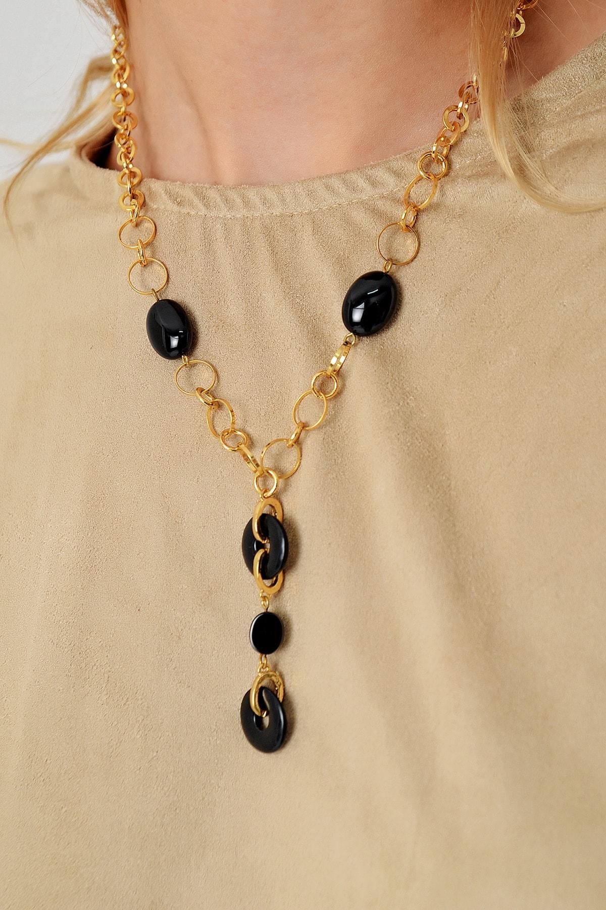 Trend Alaçatı Stili Kadın Gold Damla Taşlı Zincir Kolye ALC-A2001 1