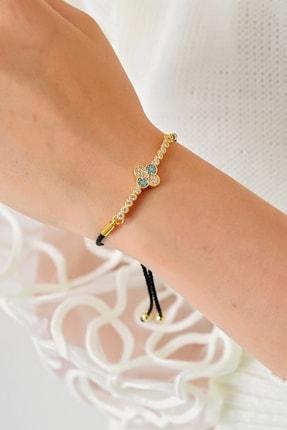 Trend Alaçatı Stili Kadın Gold Asansörlü Gold Taşlı Bileklik ALC-A1971