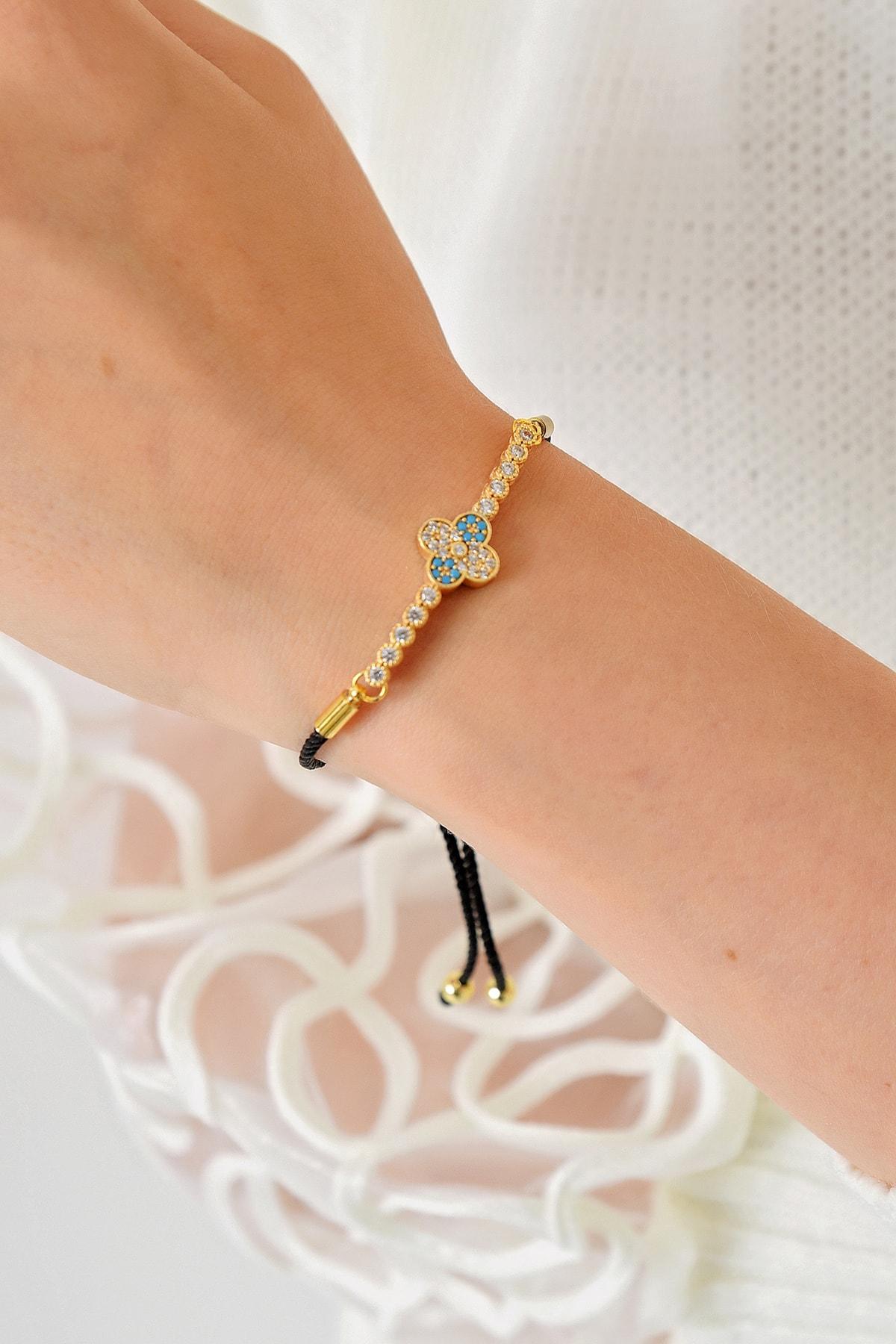 Trend Alaçatı Stili Kadın Gold Asansörlü Gold Taşlı Bileklik ALC-A1971 1