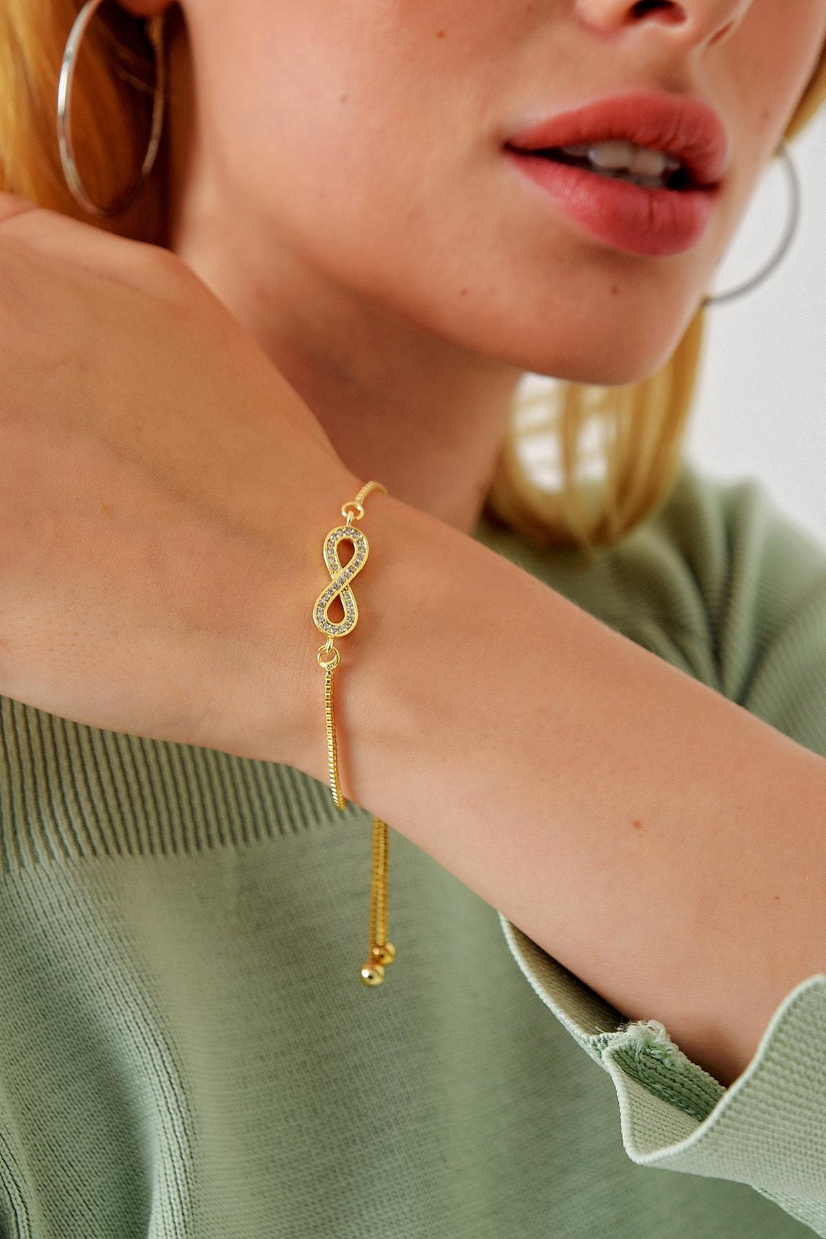 Trend Alaçatı Stili Kadın Gold Asansörlü Gold Taşlı Bileklik ALC-A1977 1