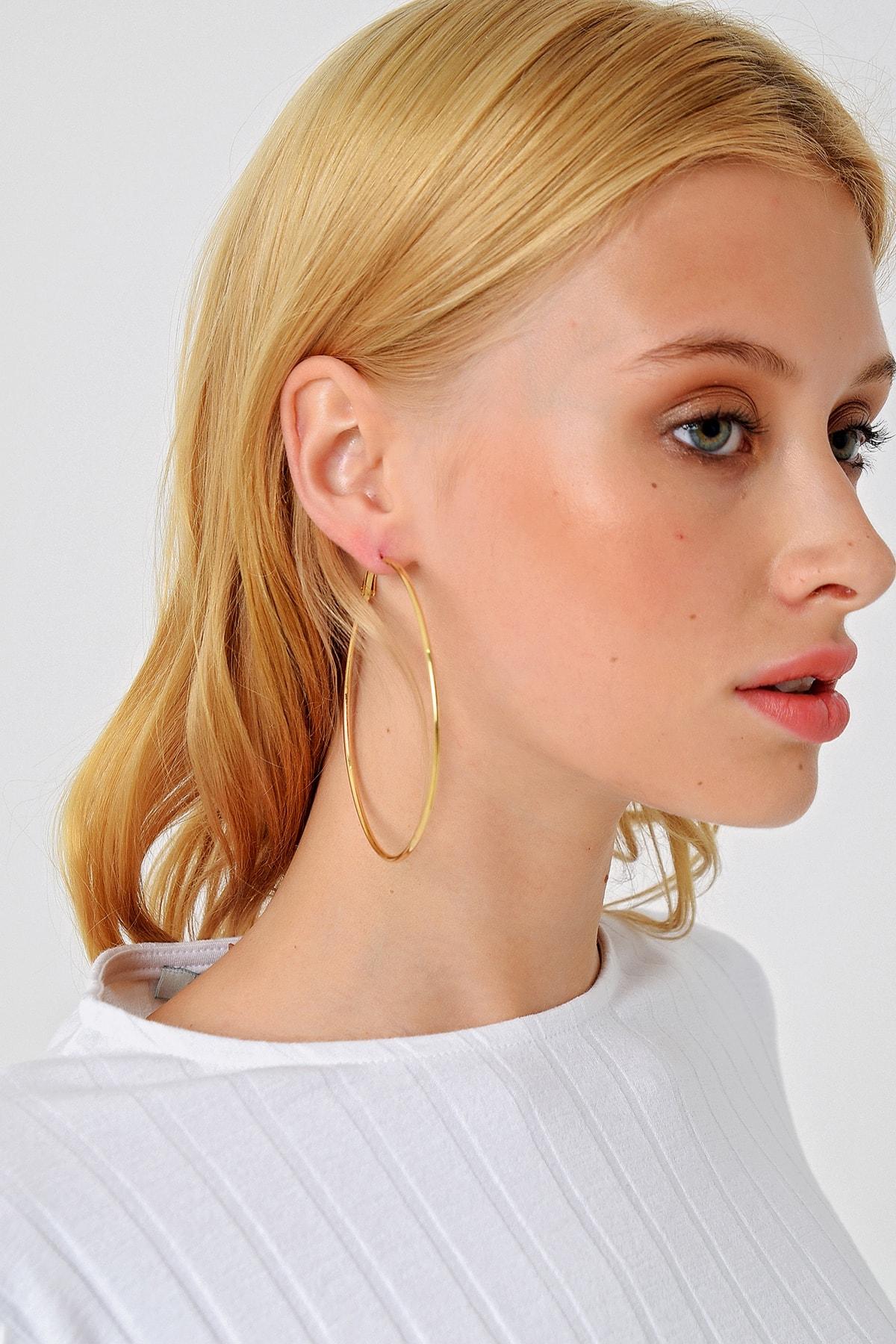 Trend Alaçatı Stili Kadın Gold Halka Küpe ALC-A1988 1