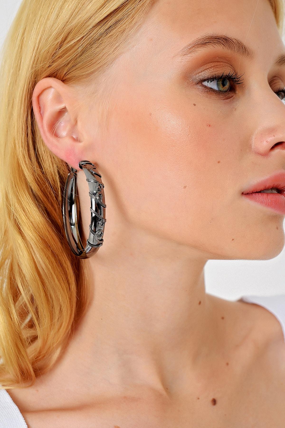Trend Alaçatı Stili Kadın Silver Halka Küpe ALC-A1980 1
