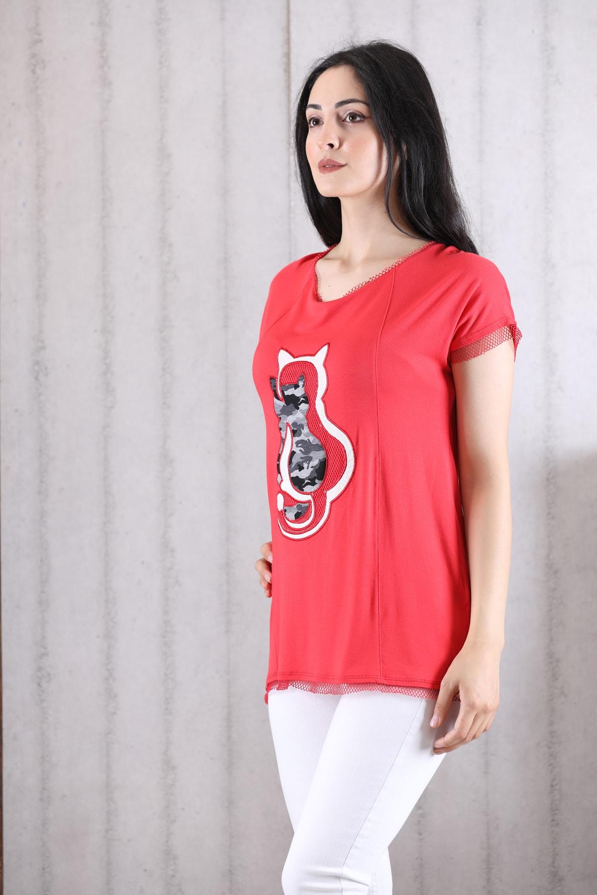 Orkide Kadın Mercan Iç Içe Kedi Baskılı Bisiklet Yaka Kolsuz T-Shirt 2