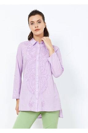 Adze Kadın Lila Fırfırlı Gömlek Tunik 40