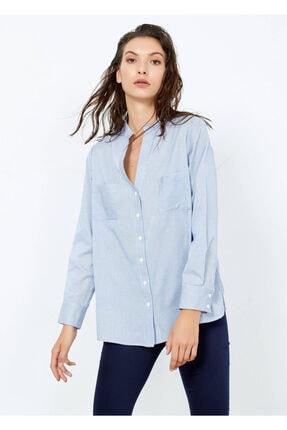 Adze Kadın Mavi Çizgili Cepli Gömlek