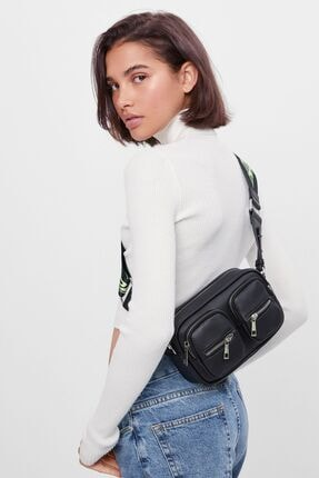 Bershka Kadın Siyah İki Cepli Çanta