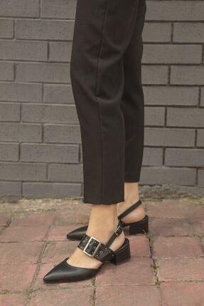 STRASWANS Amelia Deri Topuklu Ayakkabı Siyah