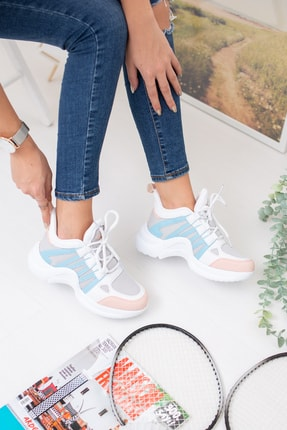 meyra moda Mavi Pembe Spor Ayakkabı