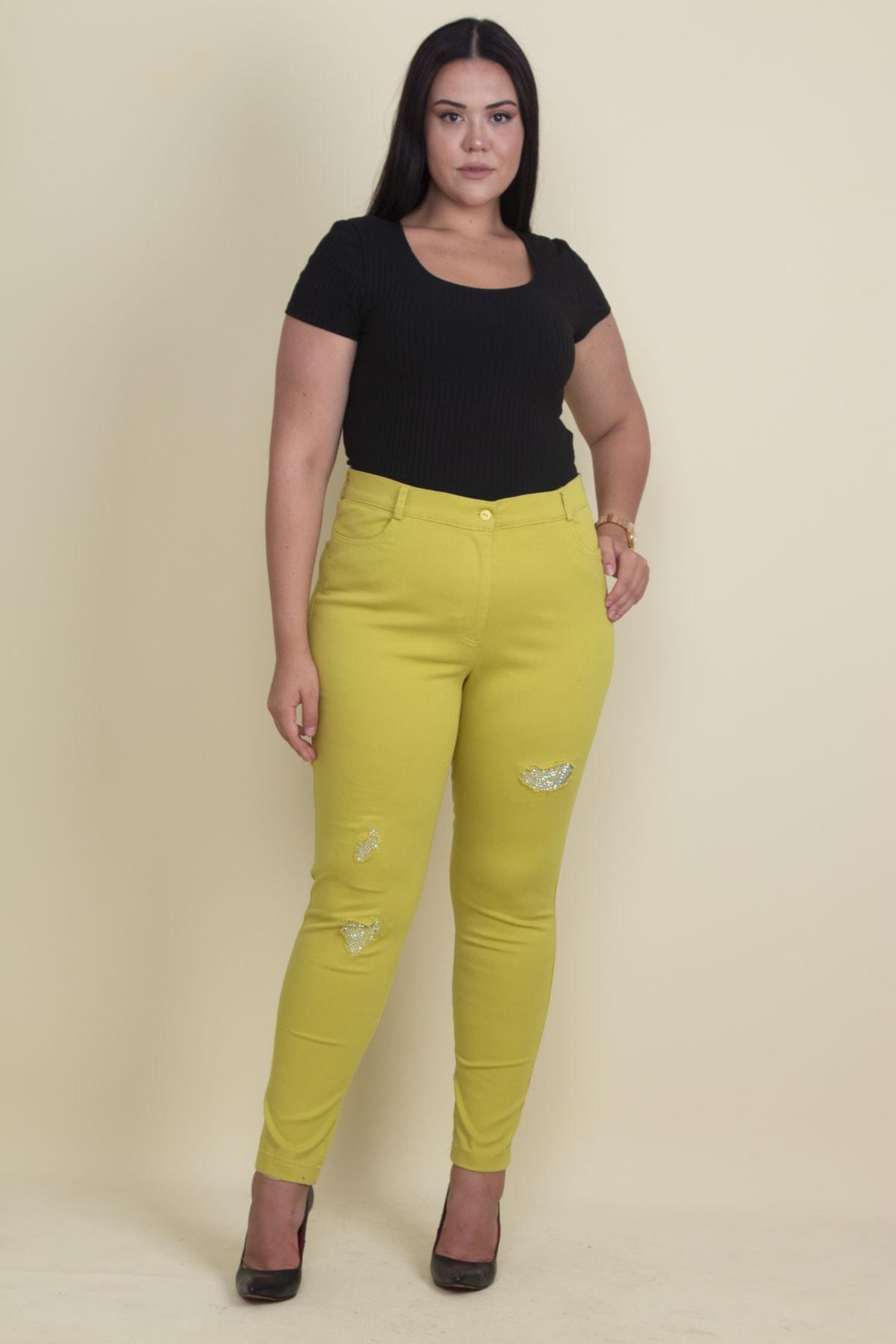 Şans Kadın Yeşil Taş Ve Yırtık Detaylı Likralı Pantolon 65N17889 1