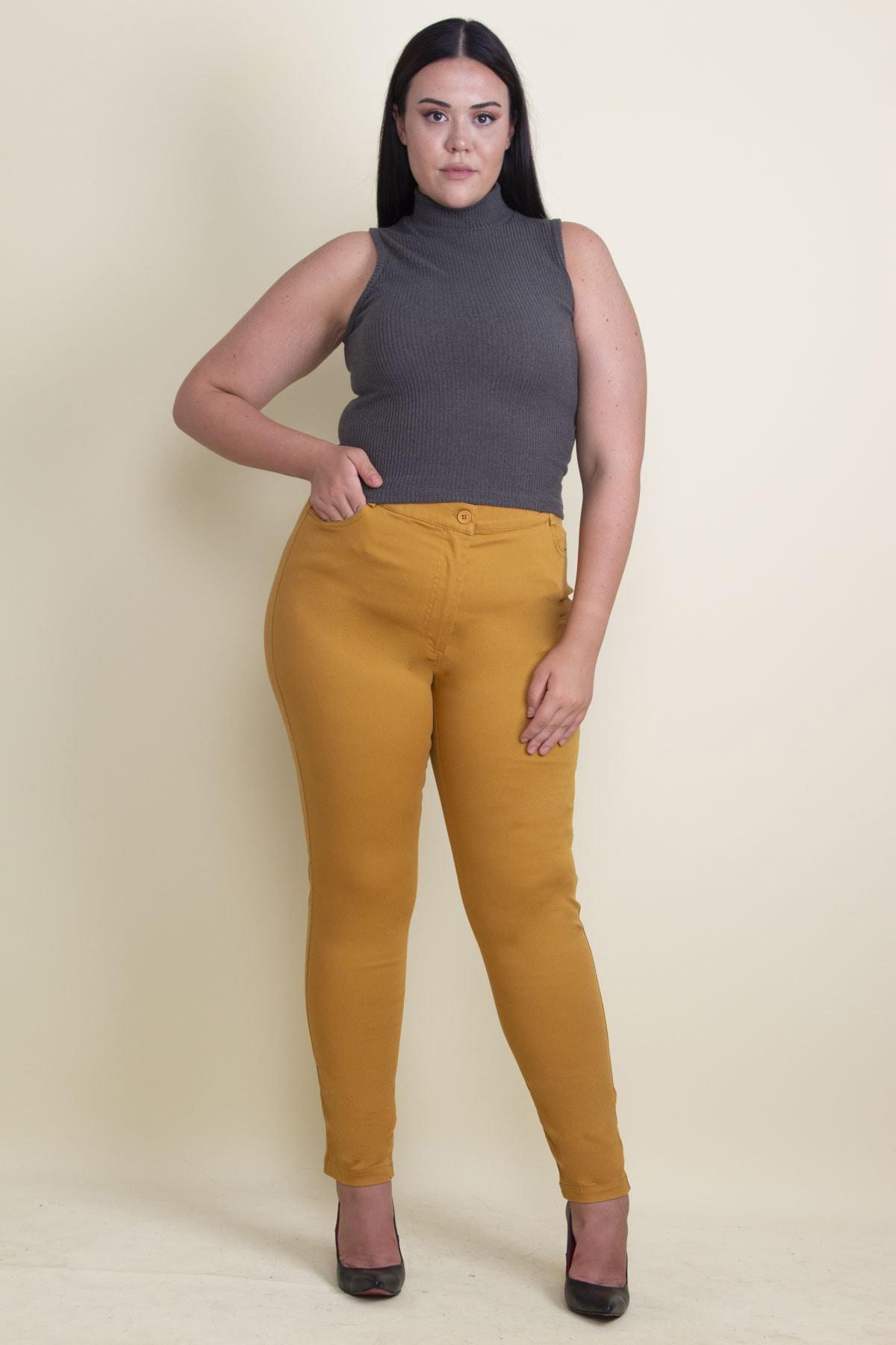 Şans Kadın Hardal Pamuklu Kumaş Likralı Pantolon 65N17898 1