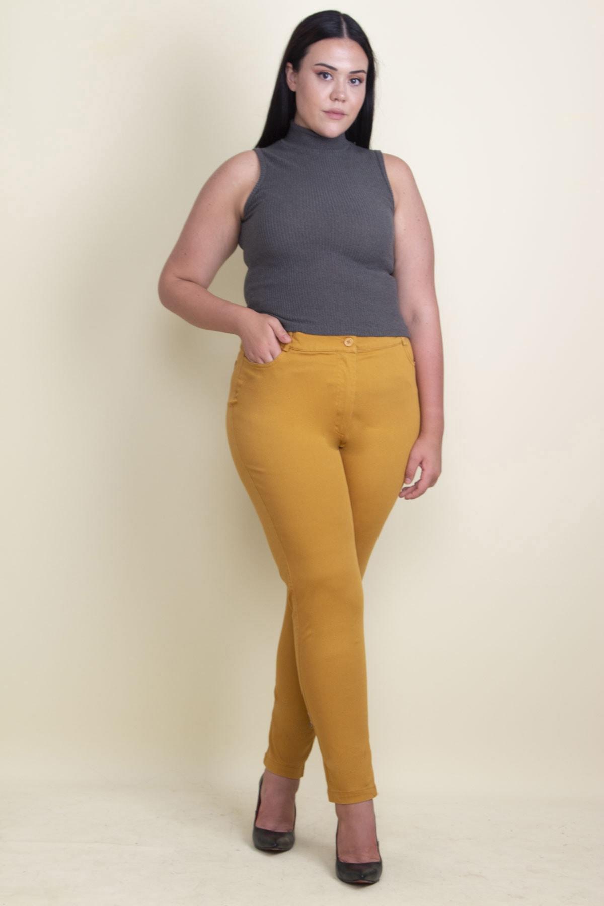Şans Kadın Hardal Pamuklu Kumaş Likralı Pantolon 65N17898 2