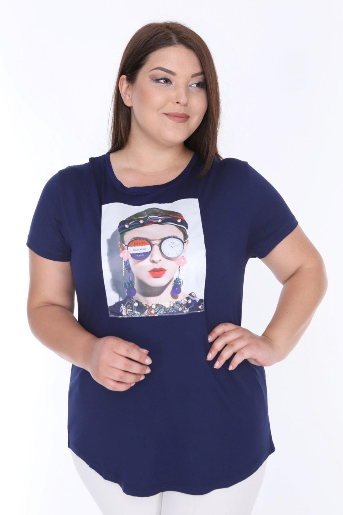 Şans Kadın Lacivert Digital Baskı İnci İşli Bluz 65N18004 1
