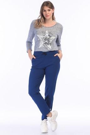 Şans Kadın Mavi Likralı Bengalin Kumaş Pantolon 65N18123