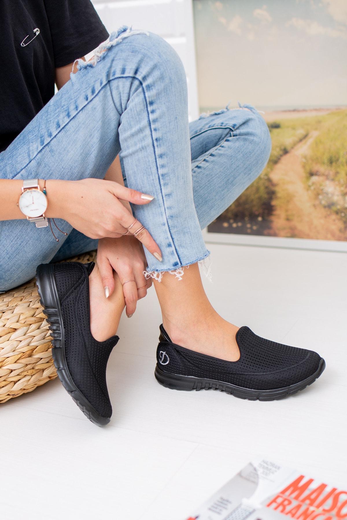 meyra moda Siyah Fileli Memory Foam Ayakkabı 1