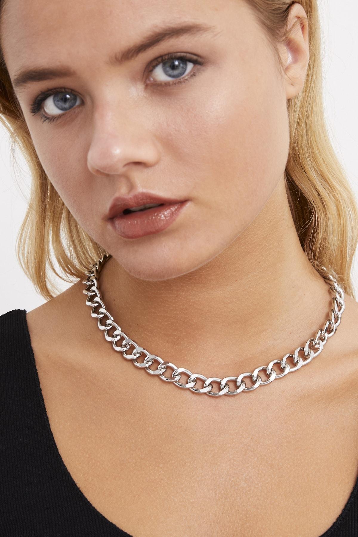 Cool & Sexy Kadın Gümüş Rengi Zincir Kolye BE437 1