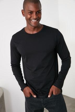 TRENDYOL MAN Siyah Erkek Bisiklet Yaka Regular T-Shirt TMNAW21TS0208