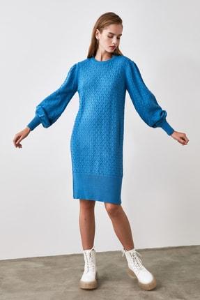 TRENDYOLMİLLA Indigo Balon Kollu Örgü Detaylı Triko Elbise TWOAW21EL0072