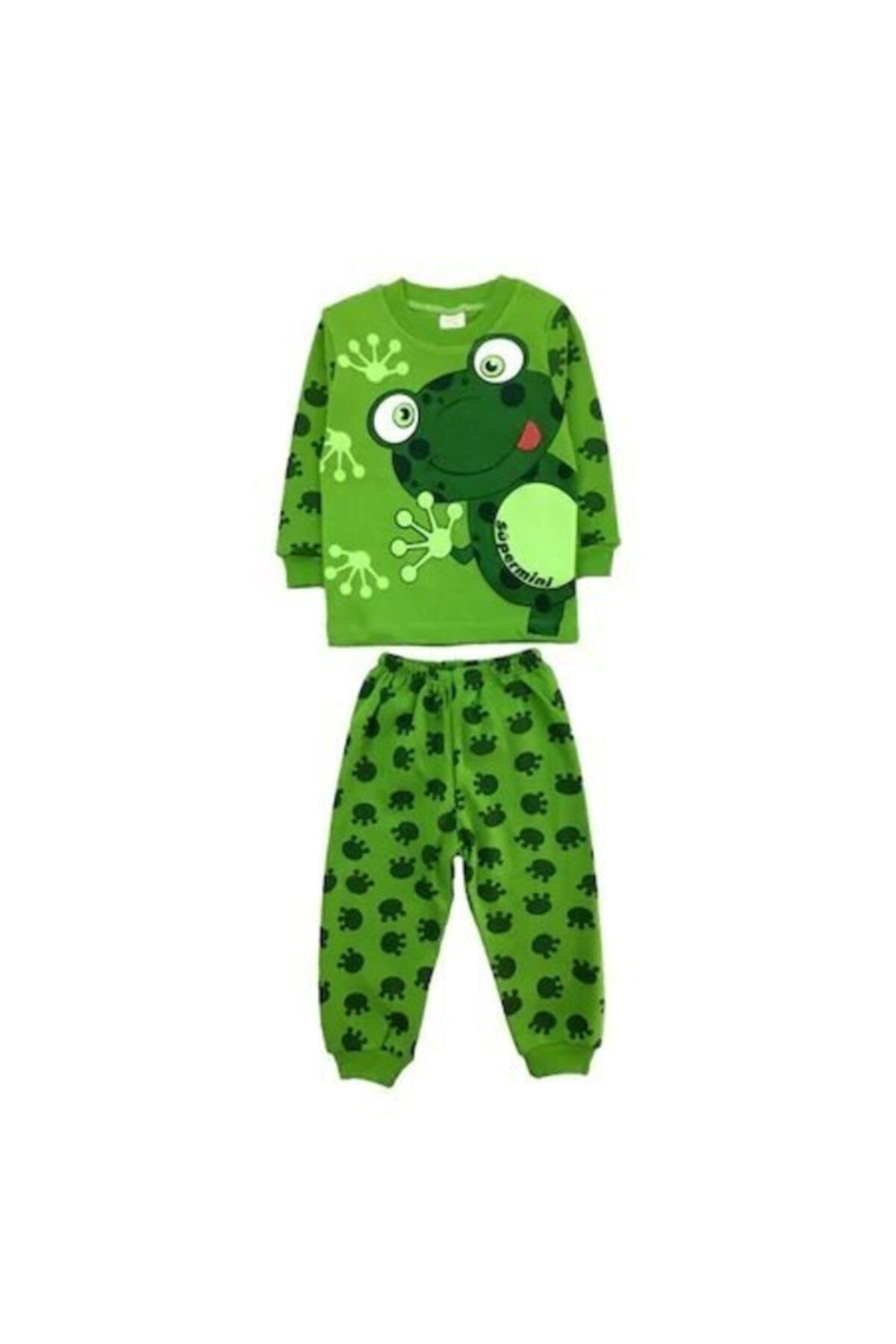 bebegen Yeşil Kurbağa Baskılı 2'li Erkek Pijama Takım 1