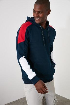 TRENDYOL MAN Lacivert Erkek Panelli Kapüşonlu Regular Sweatshirt TMNAW21SW0262