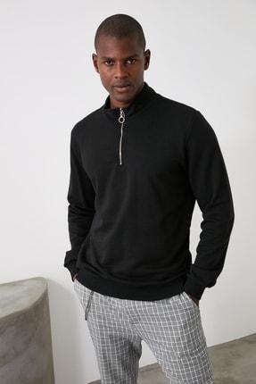 TRENDYOL MAN Siyah Erkek Fermuarlı Dik Yaka Regular Sweatshirt TMNAW21SW0304