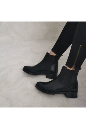 GEZER Kadın Siyah Yan Kalın Topuk Lastikli Cilt Bot & Bootie
