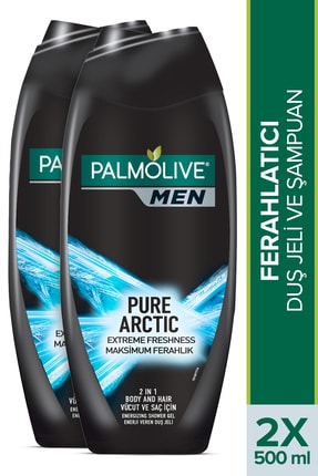 Palmolive Men Pure Artric Maksimum Ferahlık 2'si 1 Arada Vücut ve Saç için Duş Jeli ve Şampuan 500 ml x 2 Adet