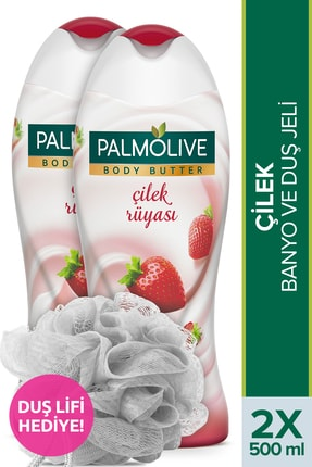 Palmolive Body Butter Çilek Rüyası Banyo ve Duş Jeli 500 ml x 2 Adet + Duş Lifi Hediye