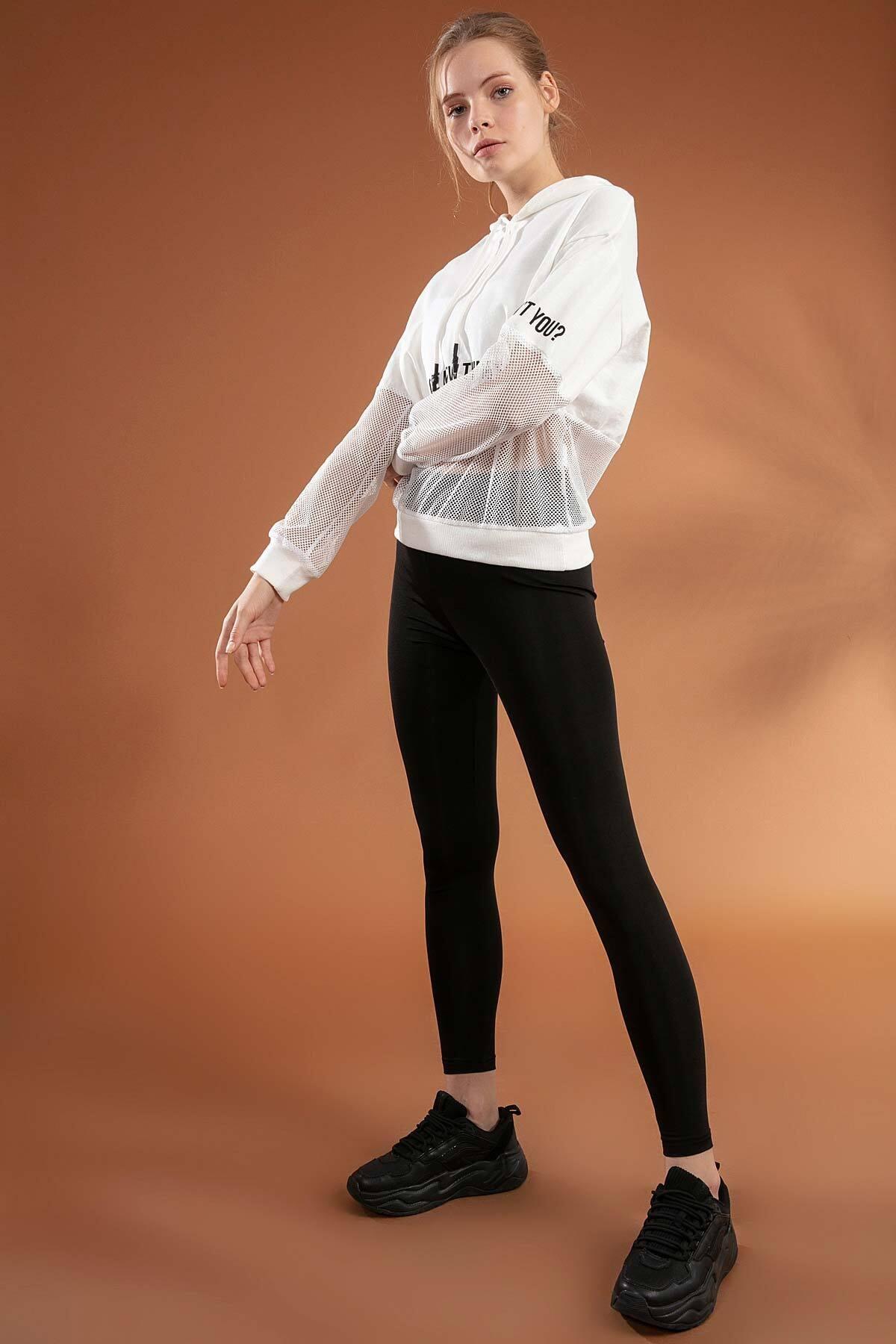 Pattaya Kadın File Detaylı Kapşonlu Sweatshirt Y20w166-3847 2
