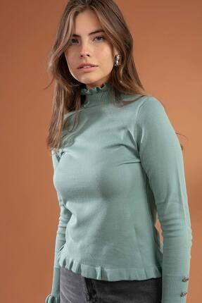 Y-London Kadın Mint Yeşili Düğme Detaylı Fırfırlı Balıkçı Yaka Triko Kazak Y20W106-0502