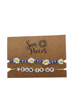 Sun Pieces Sun Is Up Renkli Yazılı Bileklik Seti