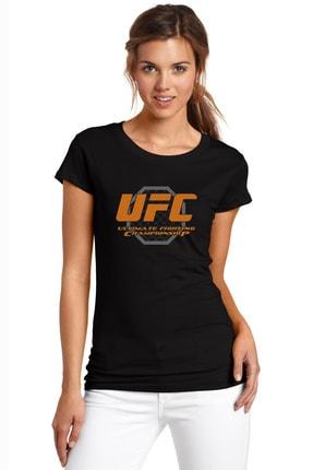 QIVI Ufc Ultimate Fighting Championship Baskılı Siyah Kadın Örme Tshirt